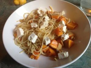 butternut squash and feta spaghetti