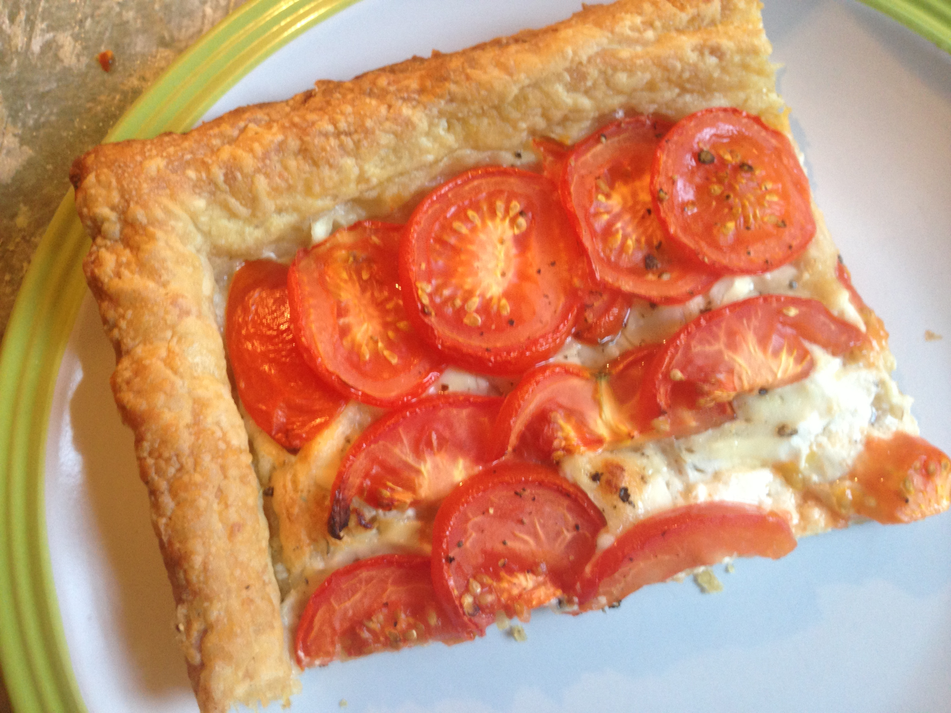 Tomato and goats cheese tart (serves four) 65p per portion