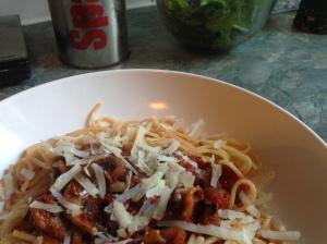 mushroom and tomato spaghetti 3